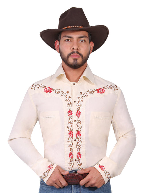 Long Sleeve Embroidered Denim Shirt for Men, 65% Polyester, 35% Cotton 'The Lord of the Skies' * - ID: 42939 BEIGE