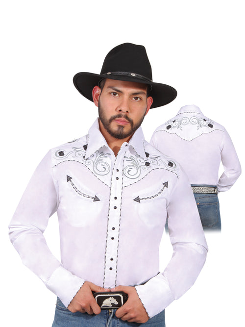 Long Sleeve Embroidered Denim Shirt for Men, 65% Polyester, 35% Cotton 'The Lord of the Skies' * - ID: 42941 WHITE