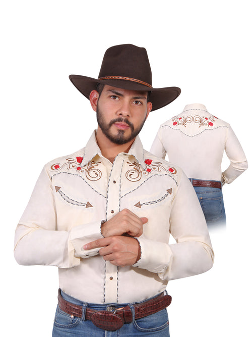 Long Sleeve Embroidered Denim Shirt for Men, 65% Polyester, 35% Cotton 'The Lord of the Skies' * - ID: 42942 BEIGE