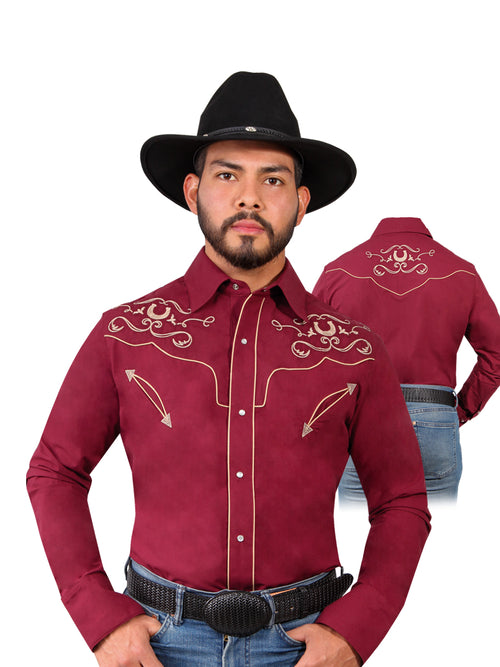 Long Sleeve Embroidered Denim Shirt for Men, 65% Polyester, 35% Cotton 'The Lord of the Skies' * - ID: 42944 WINE