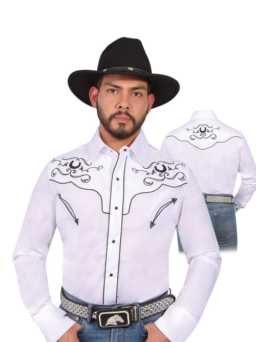 Long Sleeve Embroidered Denim Shirt for Men, 65% Polyester, 35% Cotton 'The Lord of the Skies' * - ID: 42946 WHITE