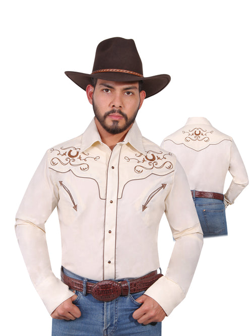 Long Sleeve Embroidered Denim Shirt for Men, 65% Polyester, 35% Cotton 'The Lord of the Skies' * - ID: 42947 BEIGE