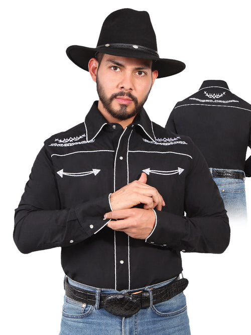 Long Sleeve Embroidered Denim Shirt for Men, 65% Polyester, 35% Cotton 'The Lord of the Skies' * - ID: 42949 BLACK