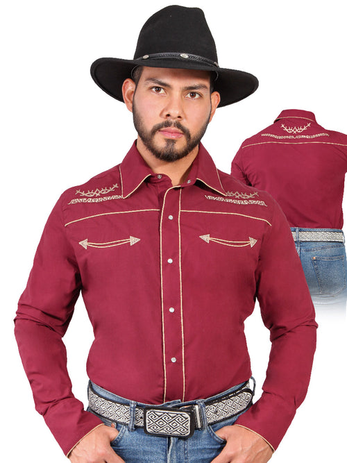 Long Sleeve Embroidered Denim Shirt for Men, 65% Polyester, 35% Cotton 'The Lord of the Skies' * - ID: 42951 WINE
