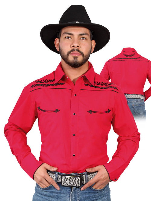 Long Sleeve Embroidered Denim Shirt for Men, 65% Polyester, 35% Cotton 'The Lord of the Skies' * - ID: 42952 RED