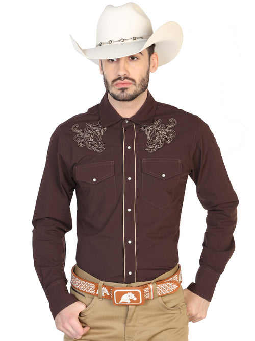 Long Sleeve Embroidered Denim Shirt for Men, 65% Polyester, 35% Cotton 'The Lord of the Skies' * - ID: 42953 CAFE