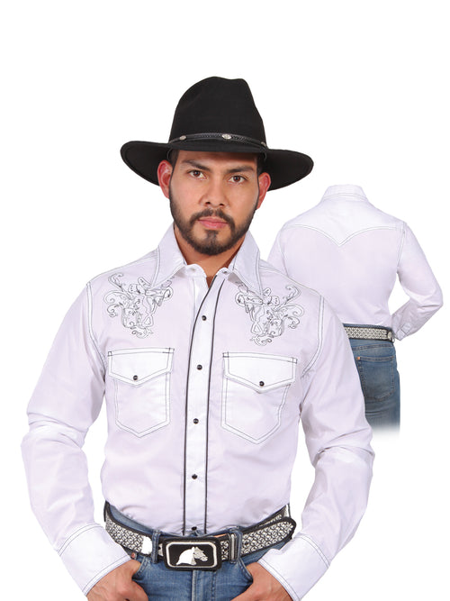 Long Sleeve Embroidered Denim Shirt for Men, 65% Polyester, 35% Cotton 'The Lord of the Skies' * - ID: 42954 WHITE