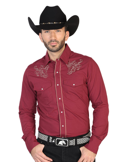 Long Sleeve Embroidered Denim Shirt for Men, 65% Polyester, 35% Cotton 'The Lord of the Skies' * - ID: 42955 WINE