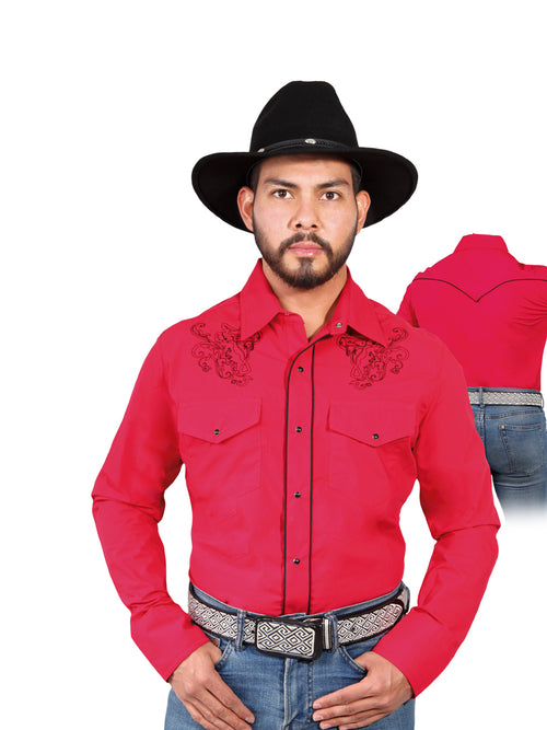 Long Sleeve Embroidered Denim Shirt for Men, 65% Polyester, 35% Cotton 'The Lord of the Skies' * - ID: 42956 RED