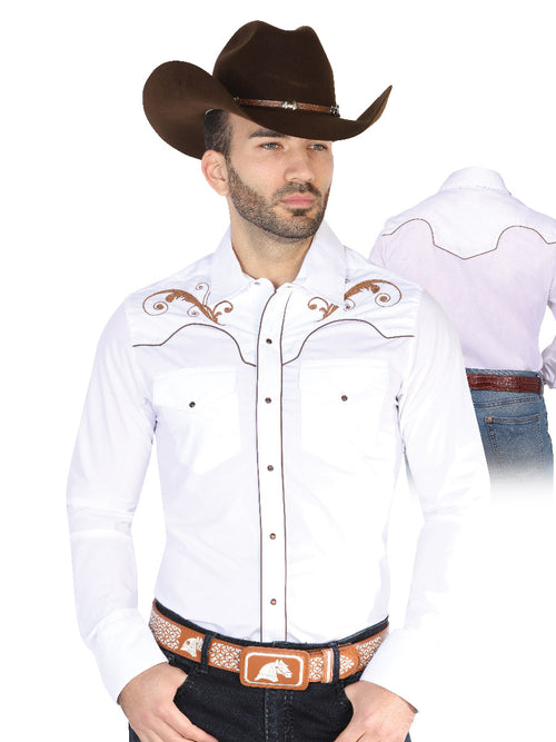 Long Sleeve Embroidered Denim Shirt for Men, 65% Polyester, 35% Cotton 'The Lord of the Skies' * - ID: 42957 WHITE