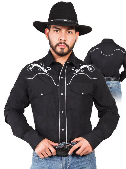 Long Sleeve Embroidered Denim Shirt for Men, 65% Polyester, 35% Cotton 'The Lord of the Skies' * - ID: 42958 BLACK