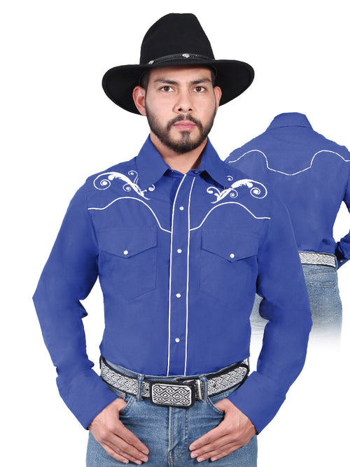 Long Sleeve Embroidered Denim Shirt for Men, 65% Polyester, 35% Cotton 'The Lord of the Skies' * - ID: 42959 BLUE KING