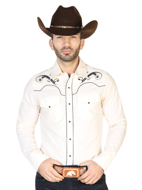 Long Sleeve Embroidered Denim Shirt for Men, 65% Polyester, 35% Cotton 'The Lord of the Skies' * - ID: 42960 BEIGE