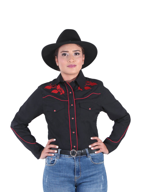 Denim Long Sleeve Shirt for Women, 65% Polyester, 35% Cotton 'El Señor de los Cielos' * - ID: 42967 BLACK