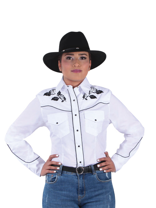 Denim Shirt Long Sleeve for Women, 65% Polyester, 35% Cotton 'El Señor de los Cielos' * - ID: 42970 WHITE