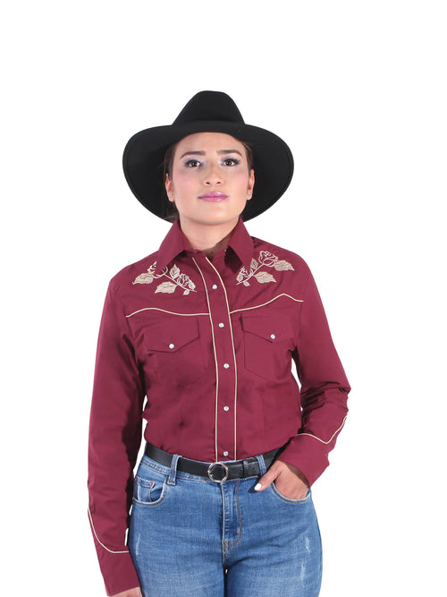Long Sleeve Denim Shirt for Women, 65% Polyester, 35% Cotton 'The Lord of the Skies' * - ID: 42971 WINE