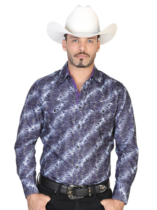 Long Sleeve Denim Shirt for Men, 100% Polyester 'The Lord of the Skies' * - ID: 43038 PURPLE