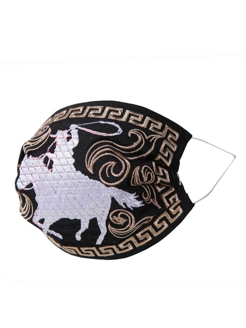 Cowboy Horse Rider Face Mask - Embroidered Mouth Cover with Rider Design - ID: 125572 HORSE RIDER BLACK / SILVER