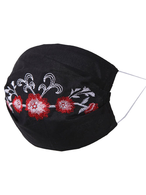 Floral Mexican Face Mask - Cubrebocas Bordado Floral - ID: 125584 FLORAL BLACK/RED