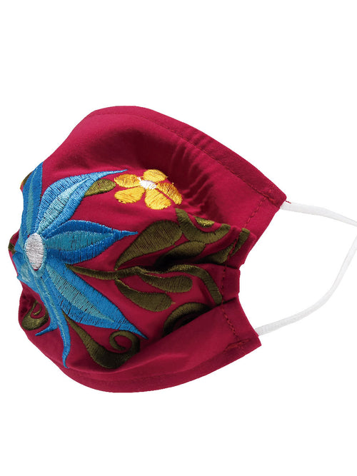 Floral Mexican Face Mask - Cubrebocas Bordado Floral - ID: 125587 FLORAL RED/BLUE