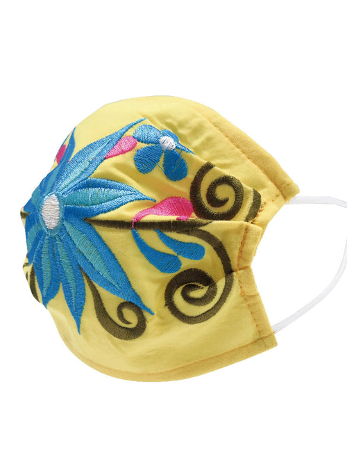Floral Mexican Face Mask - Floral Embroidered Mouth Cover - ID: 125590 FLORAL YELLOW / TURQU