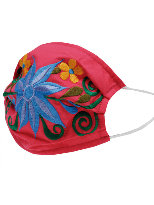 Floral Mexican Face Mask - Floral Embroidered Mouth Cover - ID: 125591 FLORAL FIUSHA / BLUE