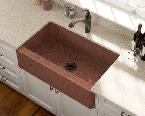 Copper Sink   Polaris Sinks P319 Single Bowl Copper Apron Sink