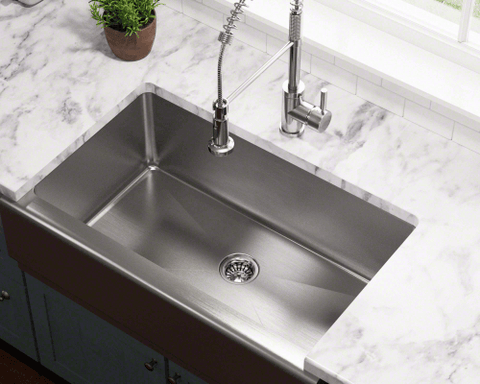 Stainless Steel Sink   Polaris Sinks P504 Single Bowl Stainless Steel Apron  Sink