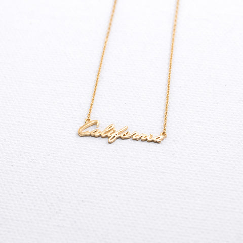 California Cursive Necklace