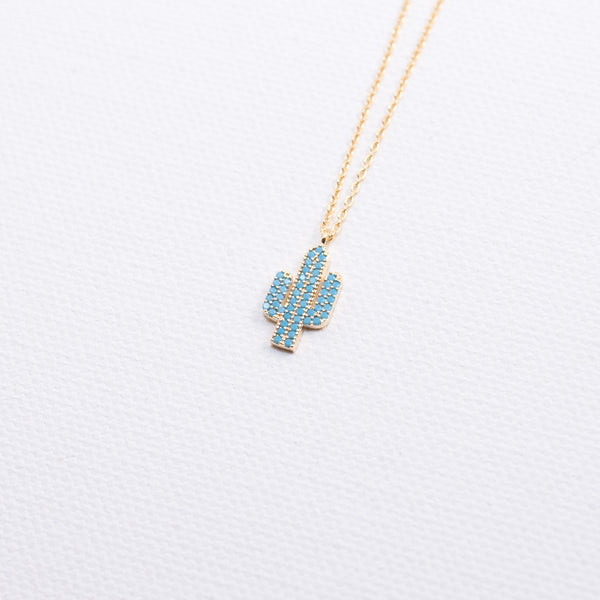 Tiny turquoise Cactus Necklace