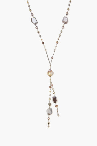 Mixed Pearls and Stones Long Necklace