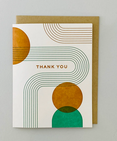 Lines and Dots Thank You Letterpress Card