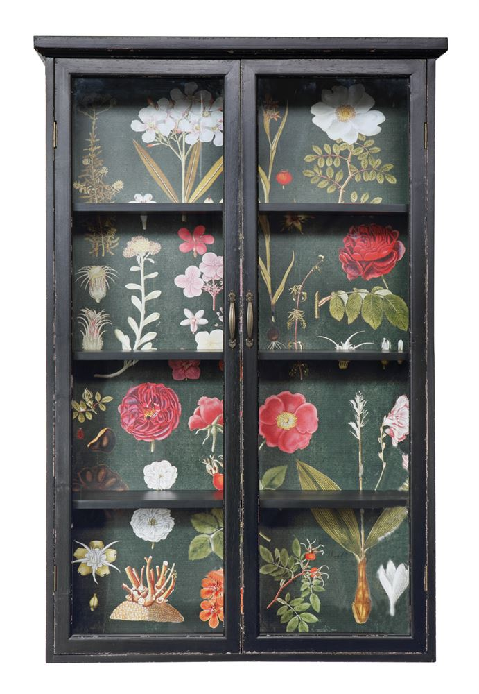 "48""H Wood Cabinet w/ Floral Papered Back"