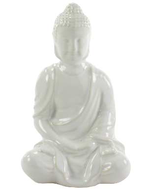 Sitting Buddha - Glazed White