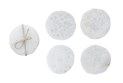Round Quartz Coasters, White, Set of 4