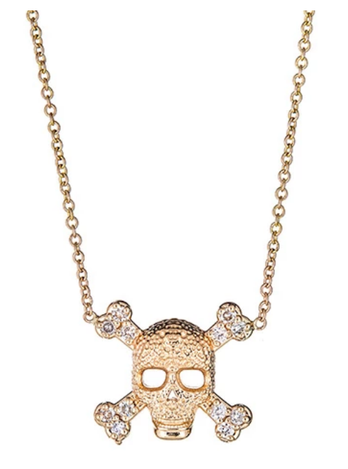 Gold Skull and Crossbones Pave Necklace