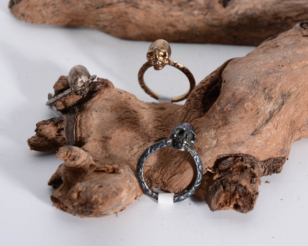 Oxidized Silver Skull Ring with Ruby