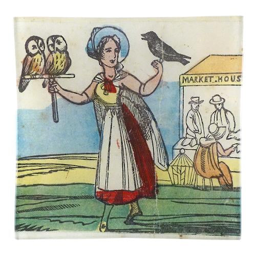 "Lady With Owls 6"" Square Tray"