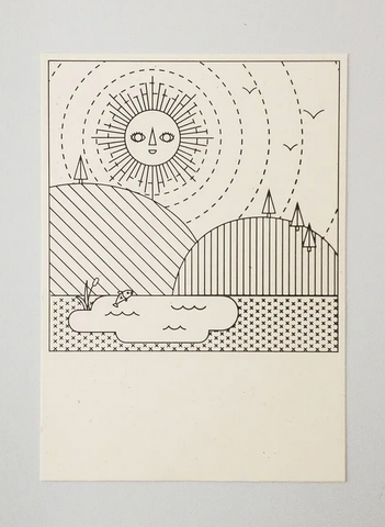 Sun Color-in Letterpress Card