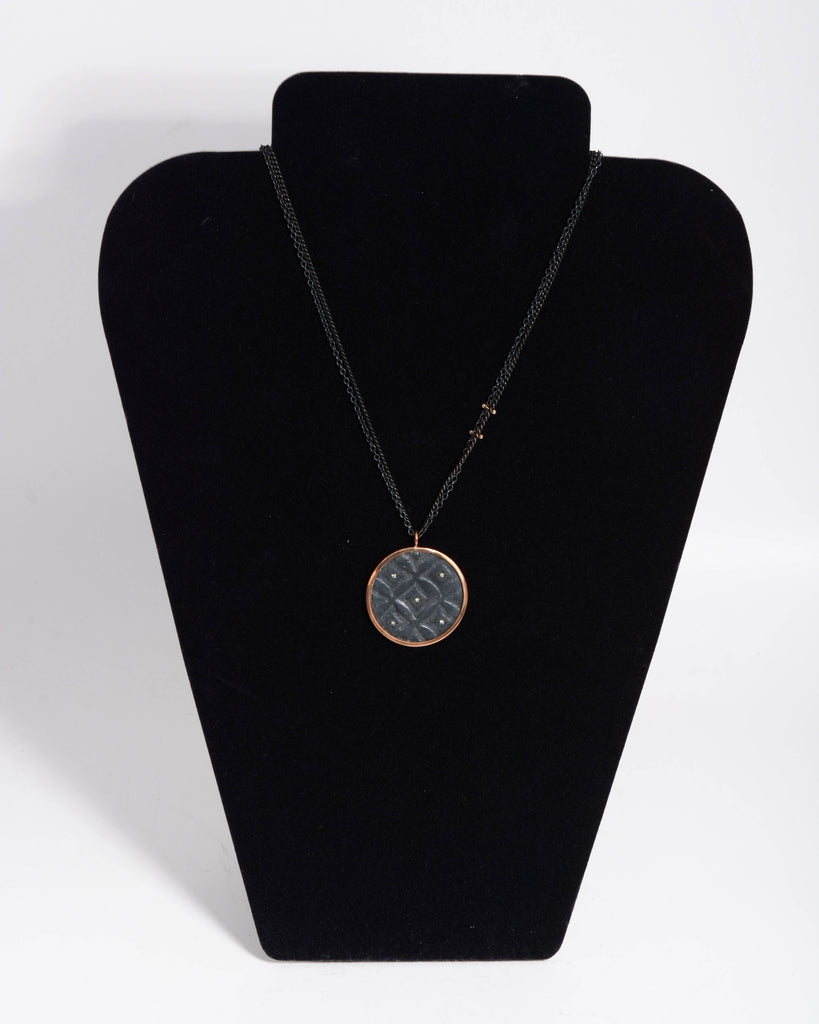 Bacione Oxidized Silver w/ 10KT Gold & Diamond