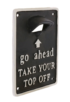 Take Your Top Off - Black Wall Mount Bottle Opener