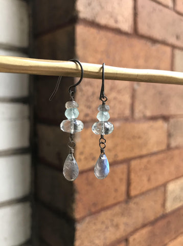 Labradorite, Green Quartz and Chalcedony Earrings