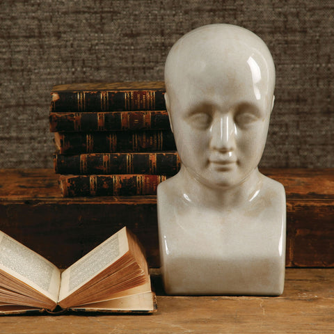 Phrenology Head Ceramic Large White