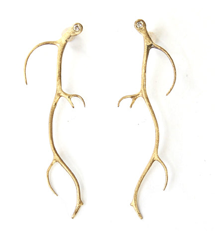 Antler Earrings with Diamonds
