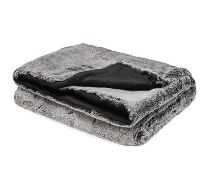 Aspen Ultra Mink Faux Fur Throw - Charcoal Black