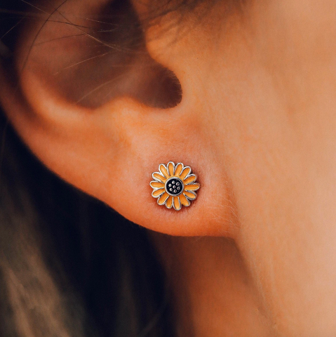 Enamel Sunflower Studs