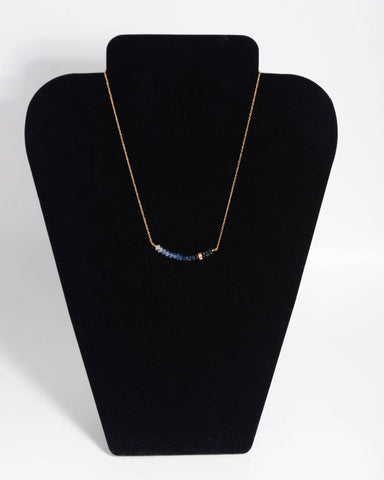 10KT Gold Necklace With Blue Sapphire Stones