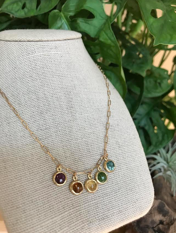 Rainbow Tourmaline Charms on 10kt Gold Mini Staple Chain Necklace