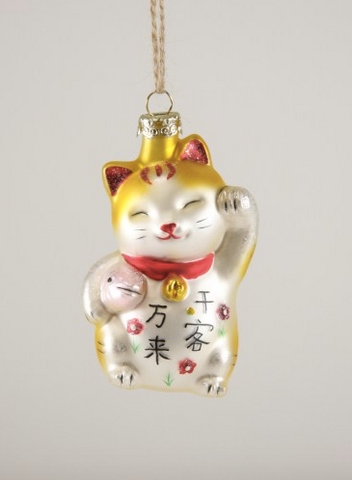 Beckoning Lucky Cat With Fish Ornament