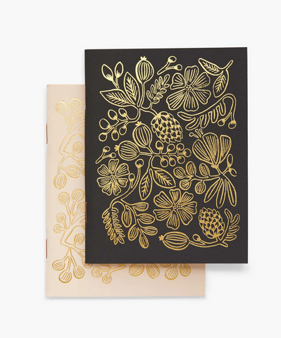 Gold Foil Floral Pocket Notebooks, Set of 2